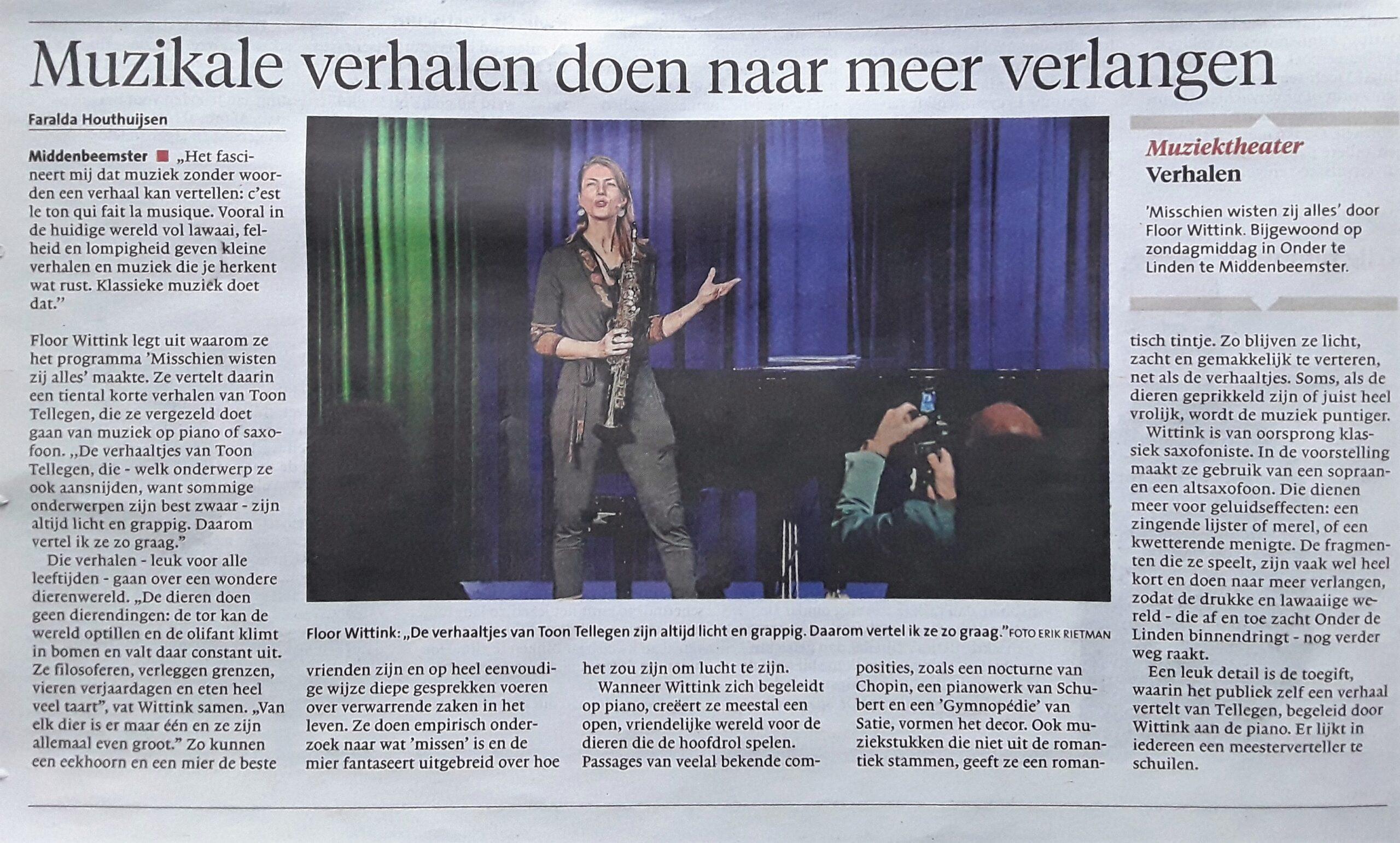 Muzikale verhalen doen naar meer verlangen – NH Dagblad 2020