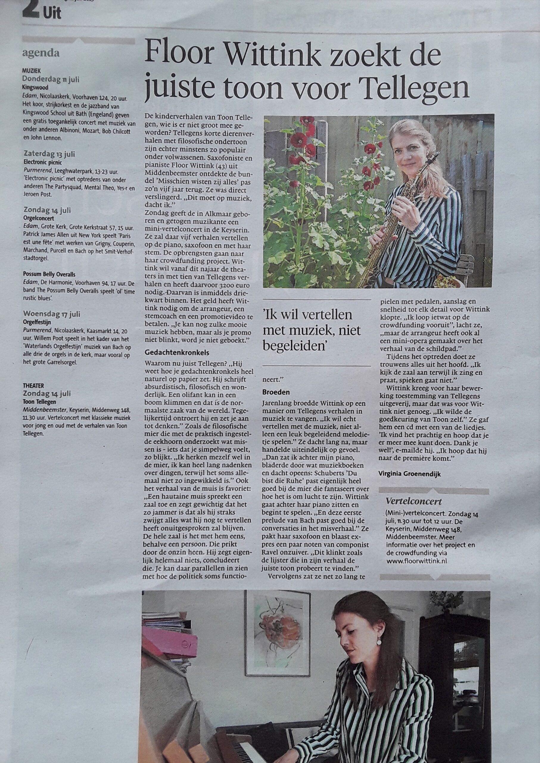 De juiste toon voor Tellegen – NH Dagblad 2019